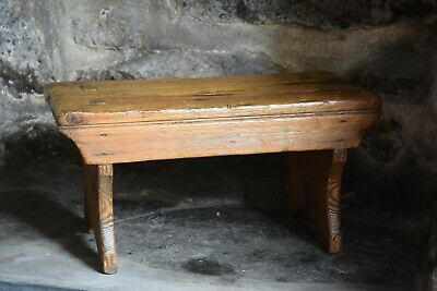 Antique Pitch Pine Stool Step,Rustic Stool,Country House, Farmhouse Kitchen Step