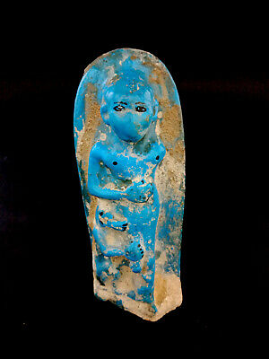 Blue Antiques Faience Very Rare Amazing Egyptian Sculpture A Priest With Baboon
