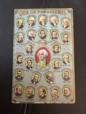 """""""Our 26 Presidents""""  Patriotic Embossed Postcard. Presidential Portraits."""