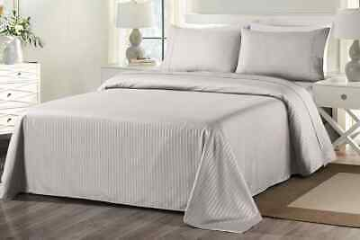 Royal Comfort 1000TC Blended Bamboo Bed Sheet Set with Stripes (Queen, Silver