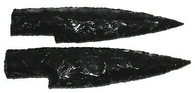 """Lot Of 2-7"""" Obsidian Knife Blades HAND Knapped Volcanic Glass Stone Knife Blades"""