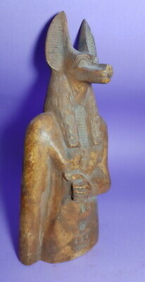 Anubis God Sculpture Egyptian Antiques Jakal Dog Figurine W/T Ankh & Hieroglyphs
