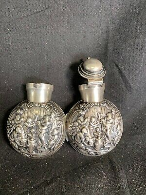 Repousse Sterling Silver perfume case Hallmark with glass perfume bottle inside