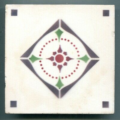 "Stencilled 6""sq Art Deco tile by Nord Deutsche Steingut Fabriek, Germany, c1925"