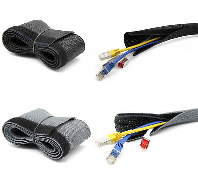 5m Cable Hose Cable Channel Touch Fastener Black or Grey [ Ø15 , 20,25, 30mm]