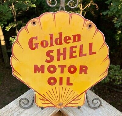 Vintage Shell Gasoline Porcelain Gas Motor Oil Service Station Pump Plate Sign