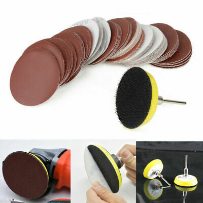 Round Sander Sandpaper Grinder Sanding Discs Pads Sheet Hook Loop Polishing Set