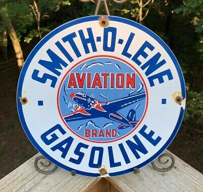 Vintage Smith-O-Lene Porcelain Enamel Sign 11 3/4 Gas Oil Pump Plate Petrol