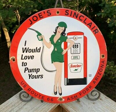 Vintage Sinclair Pump Gasoline Porcelain Sign Service Station Gas Pump Plate Oil
