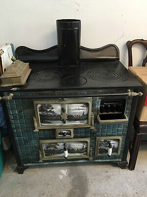 Antique Cast Iron Parlor Stove Portable Coal or Wood Burning Stove