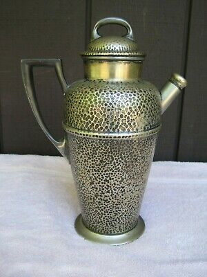 Antique Taber & Tibbits 11 Inch High Hand Hammered Silver Cocktail Shaker