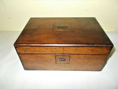 Old Wooden Sewing Box With Inlaid Top Design And Lock Area Removable Tray