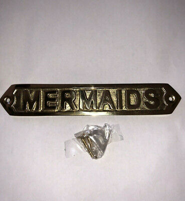 Solid Brass Mermaids Door Sign Or Wall Plaque Nautical Beach Home Boat Decor