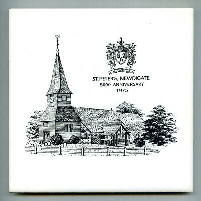 "Screen printed 6"" sq tileDorincourt for St Peter's Church, Newdigate, 1975"