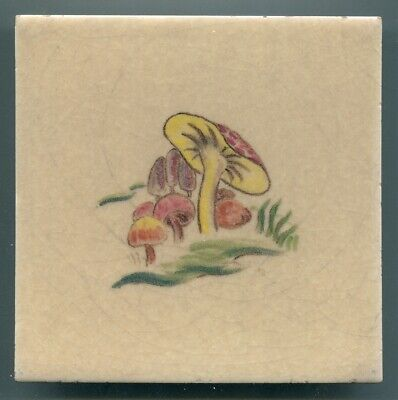 "Hand painted 6"" sq tile designed by Thea Bridges for Packard & Ord, 1948"