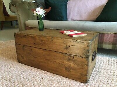 Old ANTIQUE SMALL PINE CHEST, Wooden Blanket TRUNK, Coffee TABLE Box & TRAYS