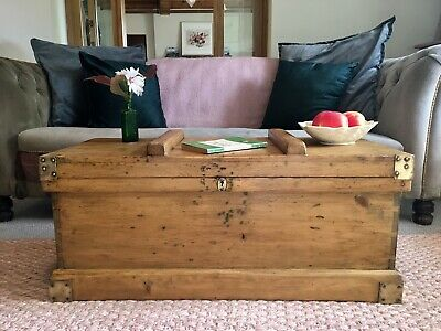 Old ANTIQUE PINE CHEST, Wooden Blanket TRUNK, Coffee TABLE, Storage Box & TRAYS!