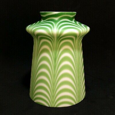 Vintage Antique Victorian Nailsea Art Glass Green & White Pulled Loop Lamp Shade