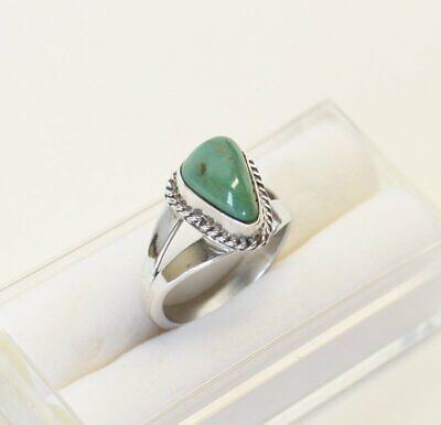 Vintage Navajo Royston Turquoise Ornate Sterling Silver Ring Old Pawn Handmade