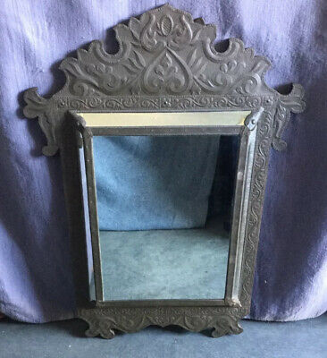 """Vintage Antique Dutch French Embossed Brass Overlay Wooden Wall Mirror 35""""h"""