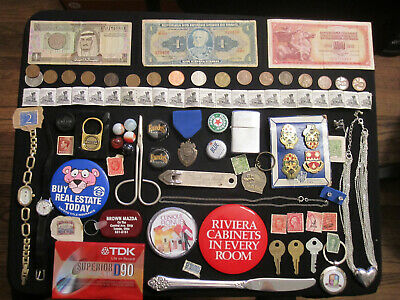 Junk Drawer Lot estate sale old coins old marbles sterling jewelry paper money