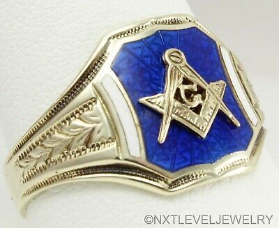 Antique 1920's Art Deco Masonic RARE Guilloche Enamel 14k Solid Gold Mens Ring