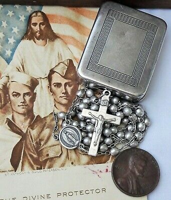 Small Antique Rosary & Case, Sterling 32 grams, DiRoma, Box & Rosary 925 Silver