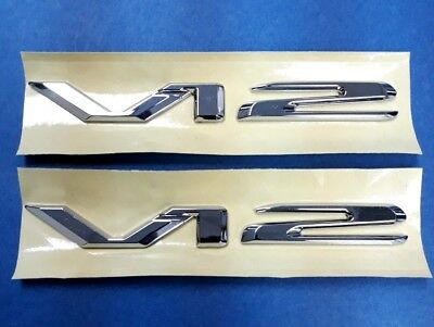 2 Chrome * V12 * Emblem Badges Biturbo Mercedes Bmw Jaguar Aston Martin Ferrari