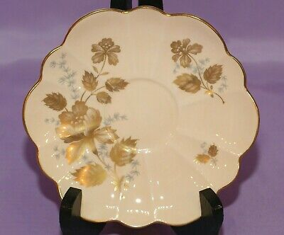 Shelley English Fine Bone China Orphan Saucer Gold Ghost Flowers And Leaves