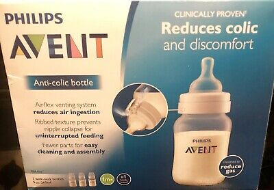 Philips Avent Natural Baby Bottle Clear 9oz 3-pack Anti-colic Bottles W/Airflex