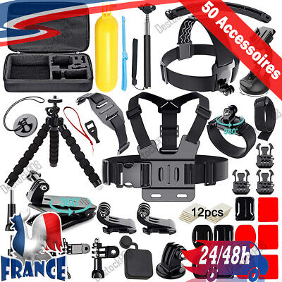 Kit Complet 50 Accessoires GoPro Hero 7 Black 6 Session 5 4 3+ 3 2 1 Camera Fr
