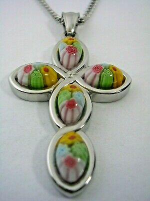 Cross Murano Glass Floral Pattern Pendant With A Chain Set In Stainless Steel