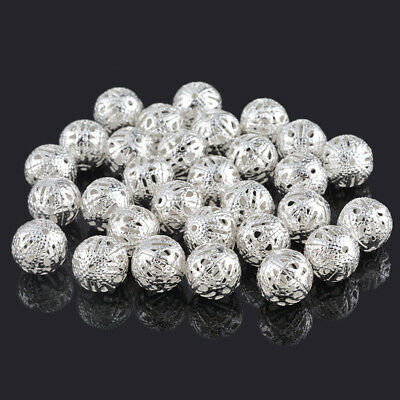50Pcs Gift Silver Plated Filigree Ball Spacer Beads 12mm Dia HOT