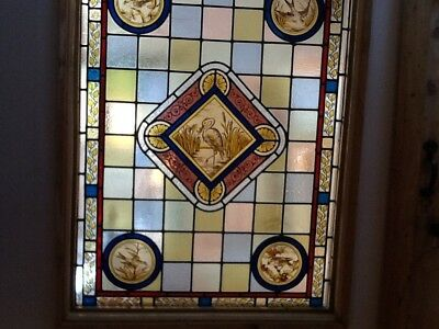 Antique large multi coloured stained glass with birds