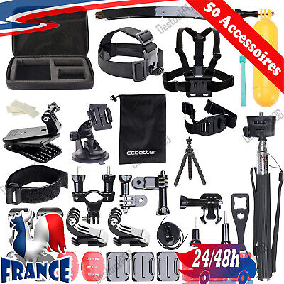 Kit 50 Accessoires GoPro Hero 4 5 6 7 Session Hero 1 2 3 3+ Camera Sport Support