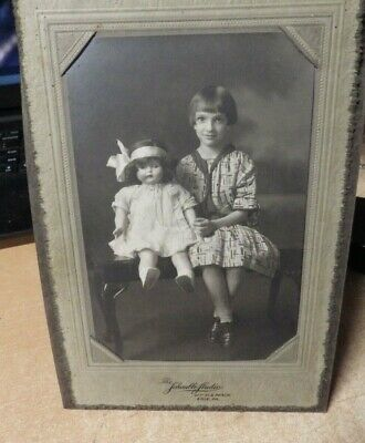 "Antique Cabinet Card Photo  8.5""X5"" Young Girl Cropped Hair W/ Porcelain Doll"