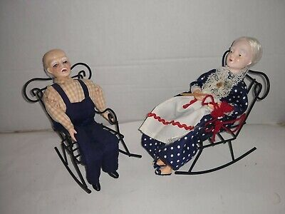 Tremendous Pair Of Vintage Shackman Grandma Knitting Grandpa Dolls In Squirreltailoven Fun Painted Chair Ideas Images Squirreltailovenorg