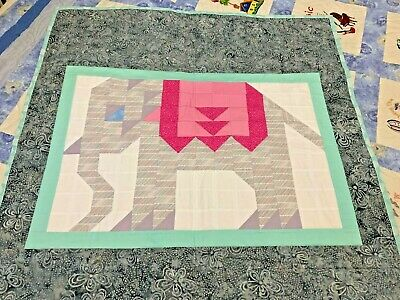 Baby Cot Quilt Patchwork Elephant  Handmade 37 inches by 41 inches