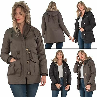DAMEN MILITARY PARKA Faux Damen Fell Kapuzen Winterjacke