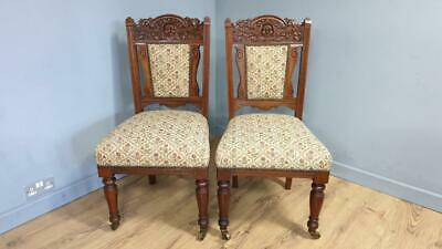Pair Of Antique Victorian Mahogany Chairs Carved Crest Rails Original Casters