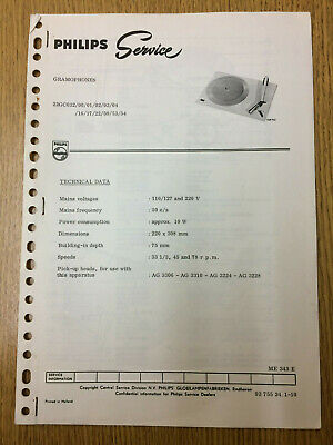Philips 22GC032 Service Notes Vintage Gramophone