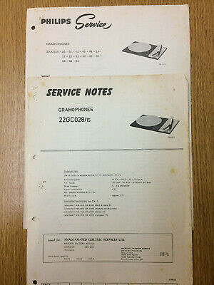 Philips 22GC028 Service Notes Vintage Gramophone