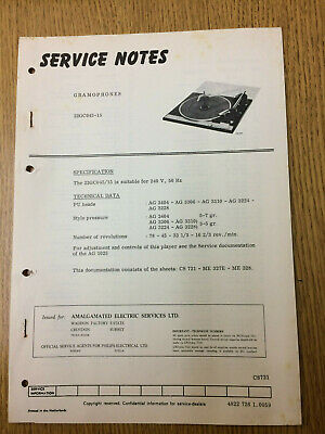 Philips 22GC045 Service Notes Vintage Gramophone