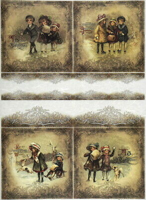 Rice Paper for Decoupage, Scrapbook Sheet, Craft Winter playing time 04-