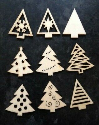 9 Small Natural Wooden Christmas Tree Card Making Scrapbook Craft Embellishments