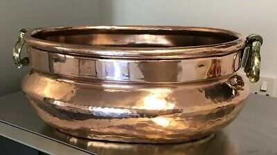 "Antique HEAVY 12""X9""X4.5"" OVAL PERSIAN HAMMERED Copper Planter 2 BRASS handles"