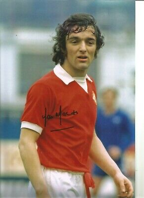 Lou Macari 12X8 Signed Colour Photo Pictured While Playing For Man U Jm260