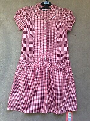 BNWT Girls Age 12-13 M&S Red Mix Checked (2 Pack) Short Sleeve School Dresses