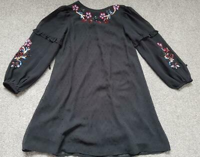 Girls River Island Black, Chiffon Dress, Sequin, Flower Detail   9-10 Yrs