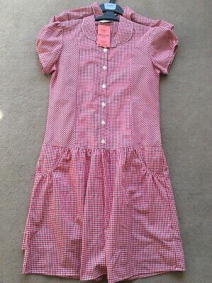 BNWT Girls Age 13-14 M&S Red Mix Checked (2 Pack) Short Sleeve School Dresses